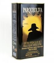 Verkauf von Olivenöl parqueoliva schwarzen Hintergrund ist eine Dose von 3 Liter