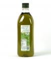 Gold Olivenöl Tanzhaus Wasserzeichen transparente Kunststoffflasche, die den Inhalt von 1 l zeigt.