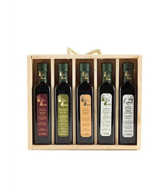 Oleo Quirós Cornicabra - estuche madera 5 frascas 250 ml.