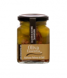 Oliva Essentia Aceituna Gordal caramelizada rellena de Dátil - Tarro 300 gr.