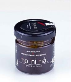 Jamón ibérico de bellota con aceite de oliva virgen extra - Tarro vidrio 40 gr.