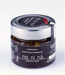 Jamón ibérico de bellota con aceite de oliva virgen extra - Tarro vidrio 100 gr.