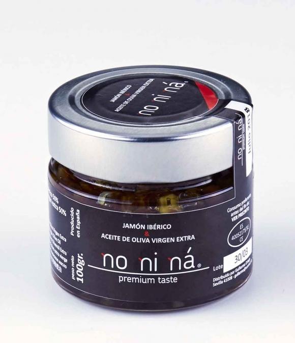 NO NI NÁ Virutas de Jamón ibérico con aceite de oliva virgen extra - Tarro vidrio 100 gr.