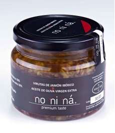 NO NI NÁ Iberian ham chips with extra virgin olive oil - Glass jar 500 gr.