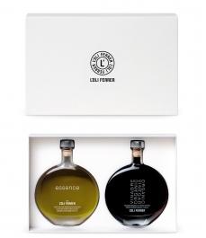L'Oli Ferrer Essence BIO et Vinaigre balsamique BIO de PX - Coffret bouteilles verre 100 ml.
