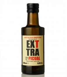 Exttra Picual ist ein kaltgepresstes Olivenöl 250ml braune Glasflasche.
