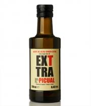 Exttra Picual est une bouteille d'huile d'olive pressée à froid de 250 ml en verre brun.