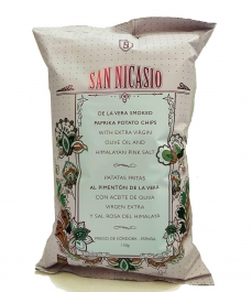San NIcasio De la vera somked paprika potato chips 150g. - Bag of 150g.