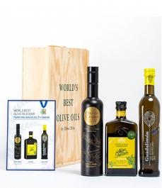 """3 """"Mario Solinas 2020"""" en coffret cadeau Gourmet - Les huiles d´olive les plus récompensées à offrir"""