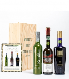 3 BEST OILS IN THE WORLD 2018 (Evoo World Ranking) in a GOURMET BOX - The most awarded oils to give away