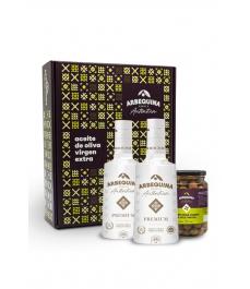Arbequina Auténtica Caja Modernista (Premium + Olivas)