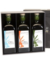 Oro del Desierto - Box of 3 squared glass bottles 500 ml.