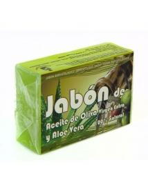 Jabón de aceite de oliva y aloe vera - Pastilla 125 gr.