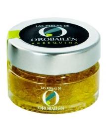 Perlen von Olivenöl Oro Bailén Arbequina - Glas 50 gr.