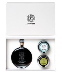 L'Oli Ferrer - Vinagre PX, caviar de aceite de oliva, flor de sal