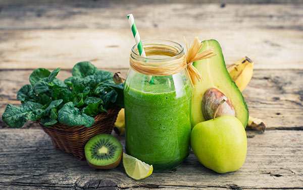Avocado smoothie with cucumber, romaine lettuce, mint, and water