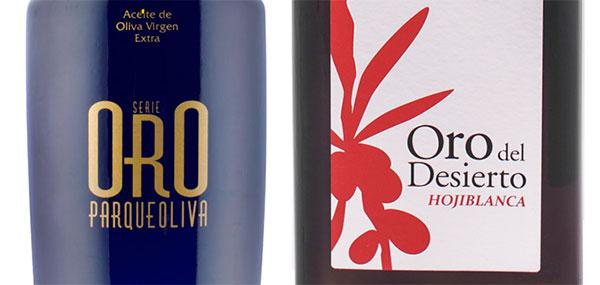 Parqueoliva Serie oro y Oro del Desierto Hojiblanca botellas