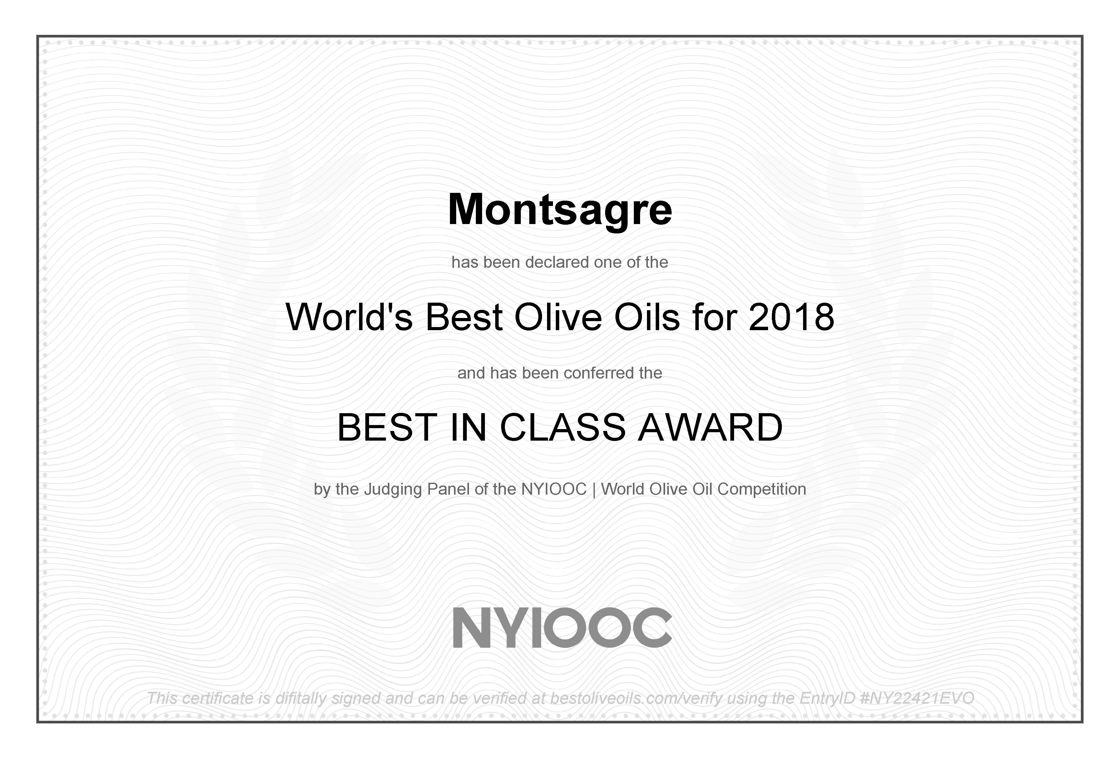 "NYIOOC 2018 ""Best in Class"" Award"